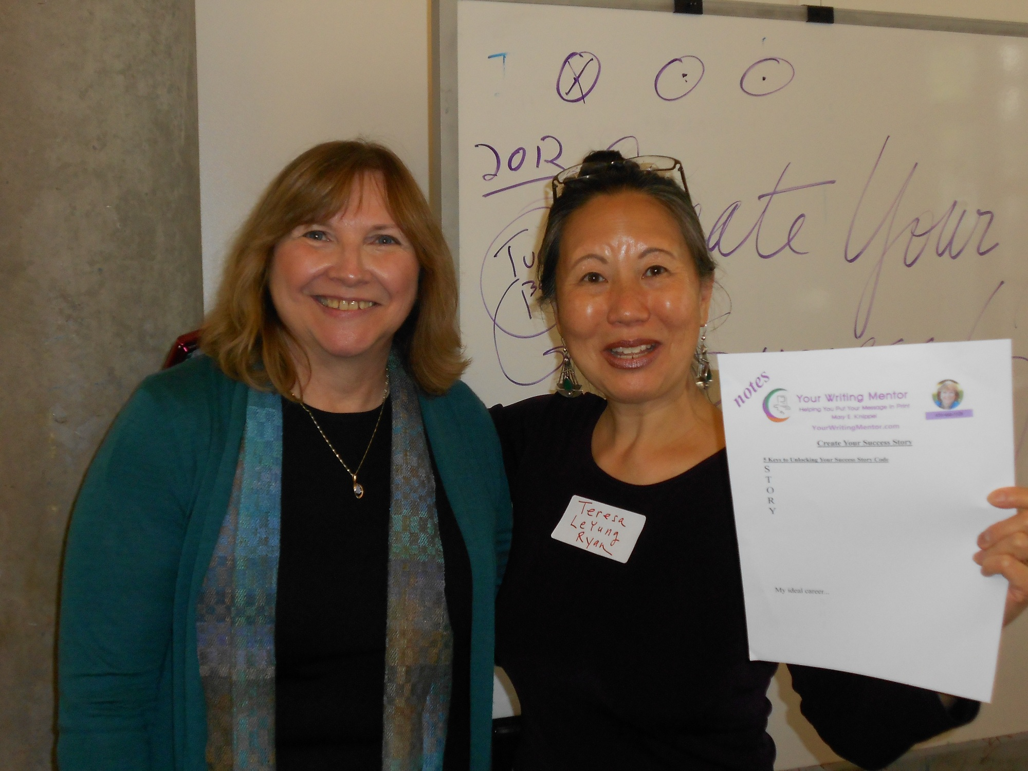 Writing Mentor Mary E. Knippel and Writing Career Coach Teresa LeYung-Ryan